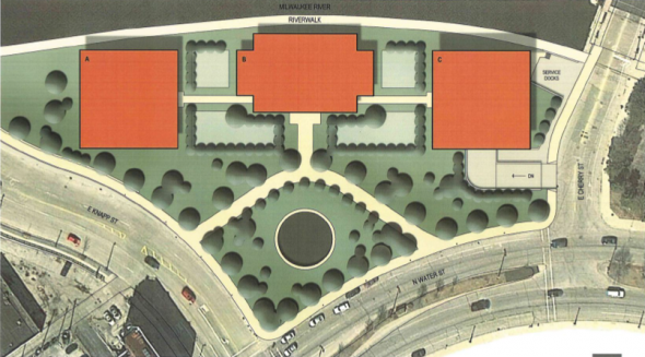 Hammes N. Water and Knapp strets proposed office complex.