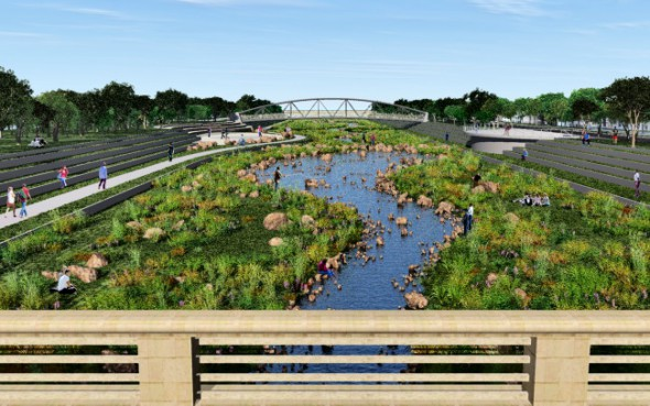 Rendering by Smithgroup JJR from the cover of the Kinnickinnic River Corridor Neighborhood Plan of the widened and naturalized channel for the Kinnickinnic River.