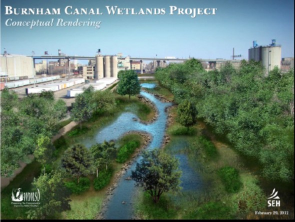 Burnham Canal: View facing east of a conceptual rendering of the future wetlands. Image from the Menomonee Valley 2.0 website.
