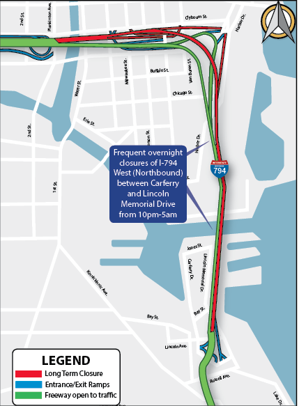 Frequent overnight closures of I-794