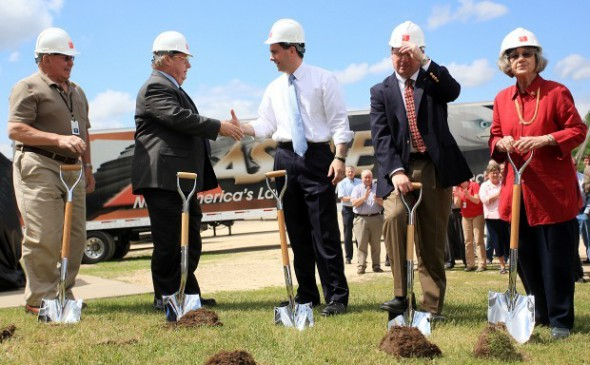 City and county officials, as well as Gov. Scott Walker, take turns breaking ground at Ashley's Whitehall expansion in 2012. The company stands to receive $675,000 for adding and retaining jobs at this plant. Photo by Andrew Link / Winona Daily News.