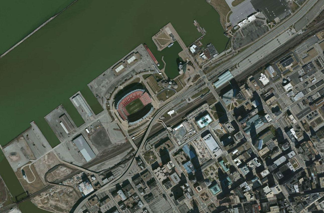 Cleveland's downtown lakefront includes the Rock and Roll Hall of Fame, but is otherwise dominated by port facilities, stadium parking lots, limited access highways, and a railroad corridor. Photo courtesy of the U.S.G.S.