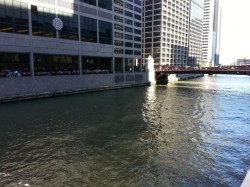 View of the South Branch, with no pedestrian access to the Chicago River in the shadow of 50- to 60-story high rises. (2013)