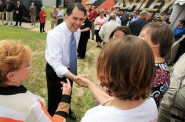 Gov. Scott Walker shakes hands of Ashley Furniture employees at a 2012 ceremony celebrating the company's Whitehall expansion. The company is eligible to receive $6.7 million in state tax credits, nearly four times the amount of federal fines it faces for allegedly violating worker safety laws. Photo by Andrew Link/Winona Daily News.
