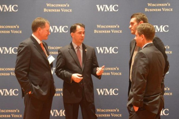 Governor Walker delivers remarks at Wisconsin Manufacturers and Commerce's Business Day in Madison. Photo from the State of Wisconsin.