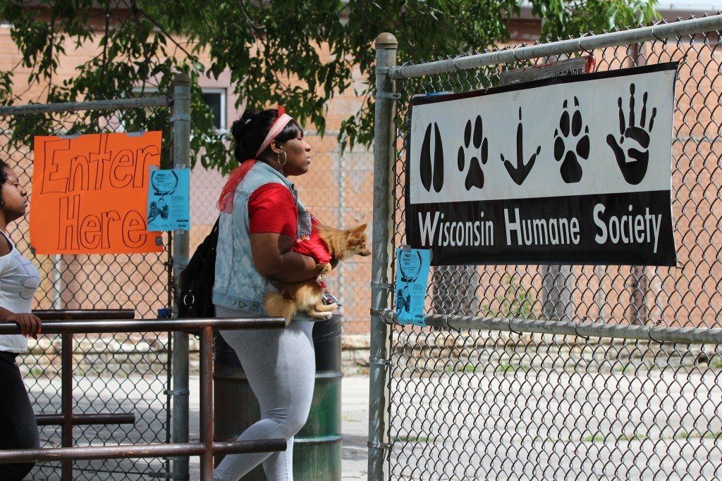 A North Side resident takes her dog to the Franklin Square Playground, where the Wisconsin Humane Society offers free pet vaccinations twice a year. (Photo courtesy of Wisconsin Humane Society)