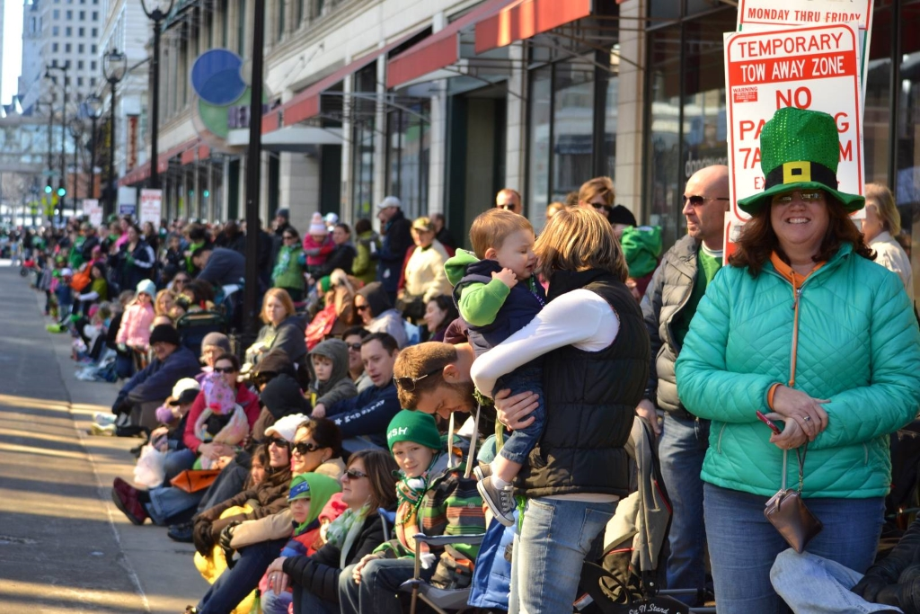 Large crowds lined the route of the 2015 St. Patrick's Day Parade. Photo by Grace Fuhr.