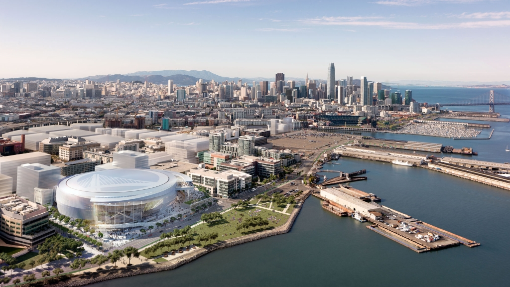 San Francisco Arena Rendering - Southwest Aerial. Design by MANICA Architecture.