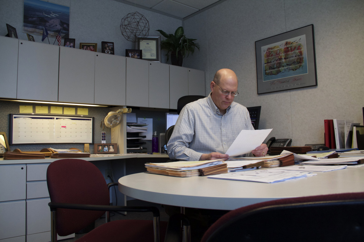 David Dies, executive secretary of the Wisconsin Educational Approval Board, at his office March 25, 2015. Photo by Madeleine Behr/Wisconsin Center for Investigative Journalism.