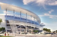 San Francisco Arena - Southeastern Entrance. Rendering by MANICA Architecture.
