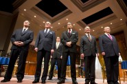 (L – R) – Brit Whittle, Mark Jacoby, (back row) Reese Madigan, Steve Sheridan, Martin L'Herault, and Jeff Steitzer in Milwaukee Repertory Theater's 2014/15 Quadracci Powerhouse world premiere production of Five Presidents. Photo by Tim Fuller.