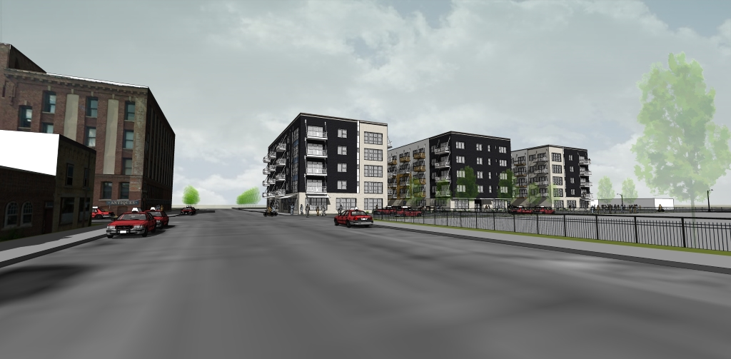 W. Washington Ave. NLE apartment building rendering. Rendering by Kindness Architecture.