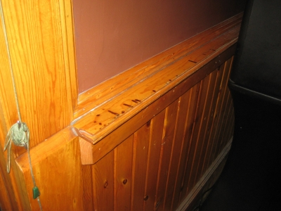 Knotty pine wainscoting. Photo by Michael Horne.