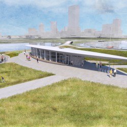 Visitor and Education Center on Lakeshore State Park. Rendering by The Kubala Washatko Architects, Inc.