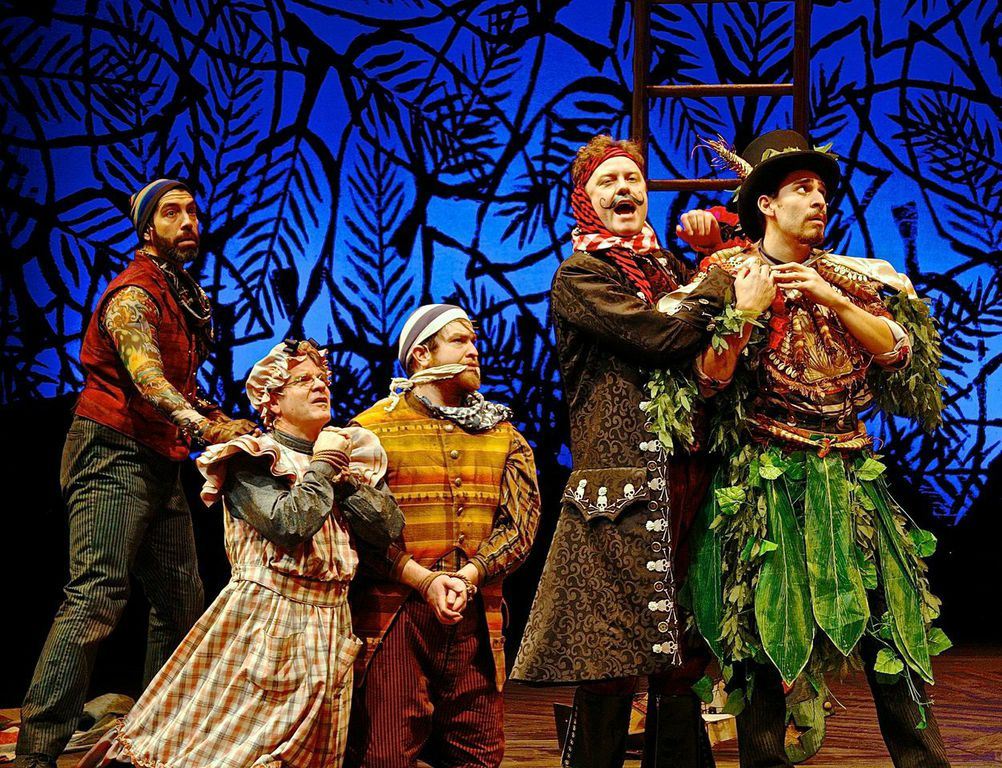 (L-R) José Restrepo, Andy Paterson, Nick Vannoy, Tom Story, and Arturo Soria in Milwaukee Repertory Theater's 2014/15 Quadracci Powerhouse production of Peter and the Starcatcher.