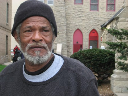Benny Barnes, a 64-year-old homeless man, stands outside of The Gathering, a daily meal program held at St. James Episcopal Church, 833 W. Wisconsin Ave. Photo by Brendan O'Brien.