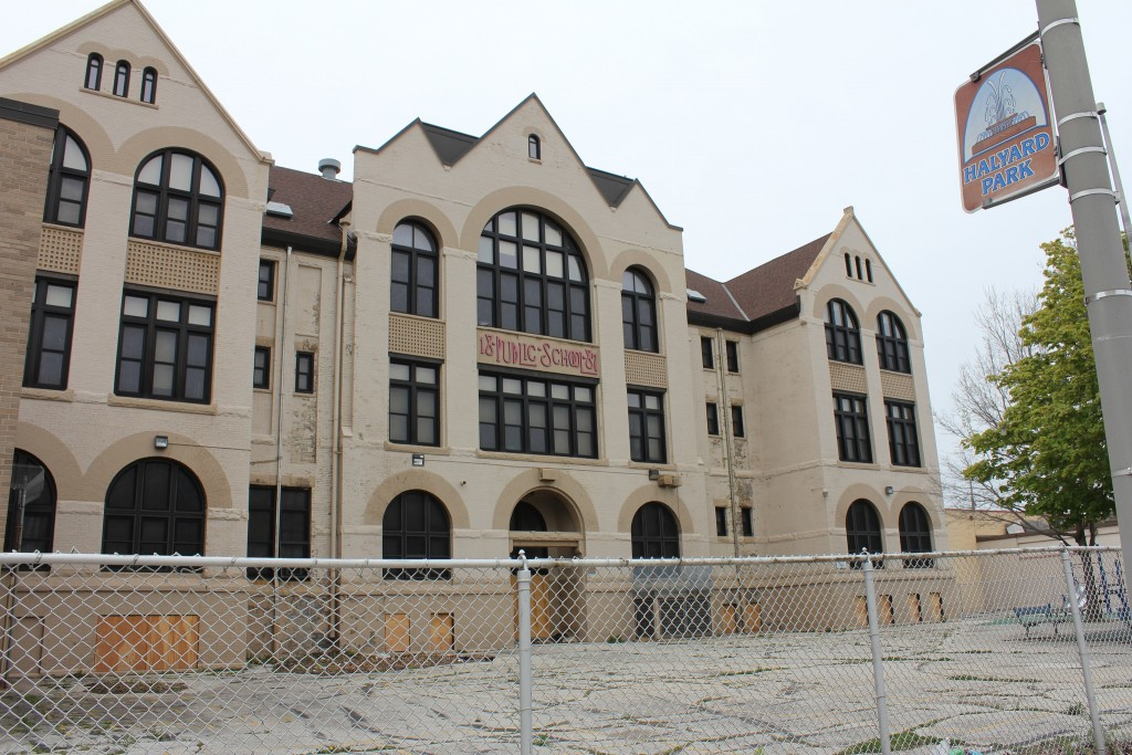 The former Garfield Avenue Elementary School would be converted to apartments, and would be the new home of America's Black Holocaust Museum, under a renovation plan advanced by Maures Development Group, LLC. Photo by Mark Doremus.