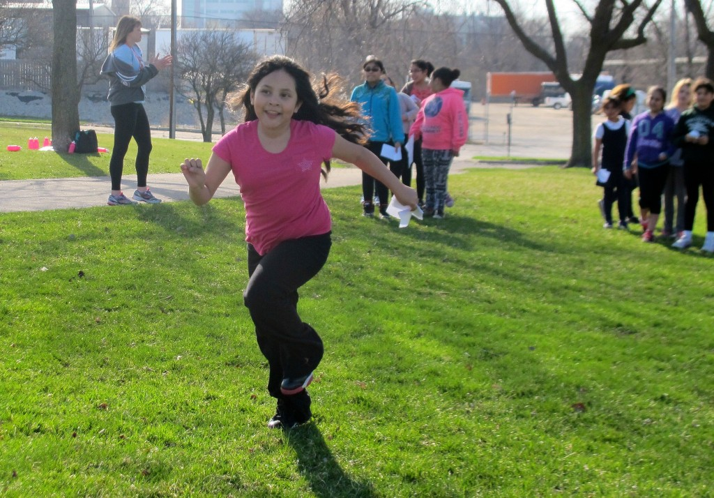 Girls on the Run, a program that empowers girls by building healthy habits, is run by Community HealthCorps members at Sixteenth Street Community Health Centers. Photo by Wyatt Massey