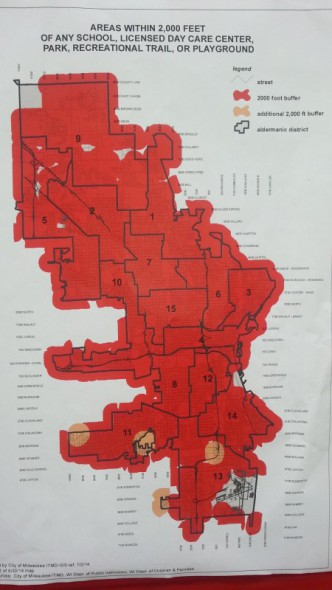 Red and orange highlights denote areas convicted sex offenders cannot reside within the city of Milwaukee. Map produced by City of Milwaukee