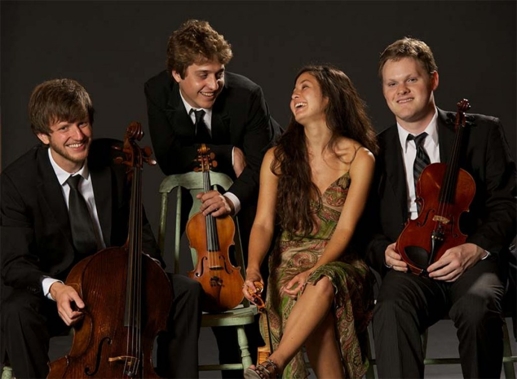 Aeolus Quartet - cellist Alan Richardson, violinists Nicholas Tavani and Rachel Shapiro, violist Gregory Luce. Photo by Nathan Russell