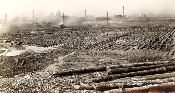Jones Island construction, 1921. Photo courtesy of MMSD.