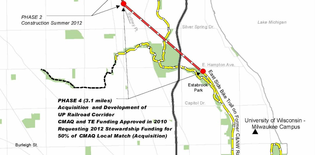 Map of the Oak Leaf Trail extension. Click the image for an expanded map.