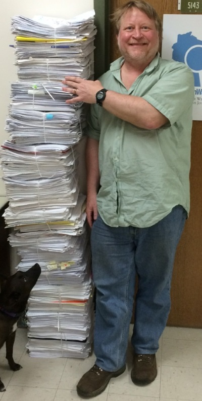 Bill Lueders with notes for his nearly 200 columns from the past four years. Photo by Sean Kirkby of the Wisconsin Center for Investigative Journalism.