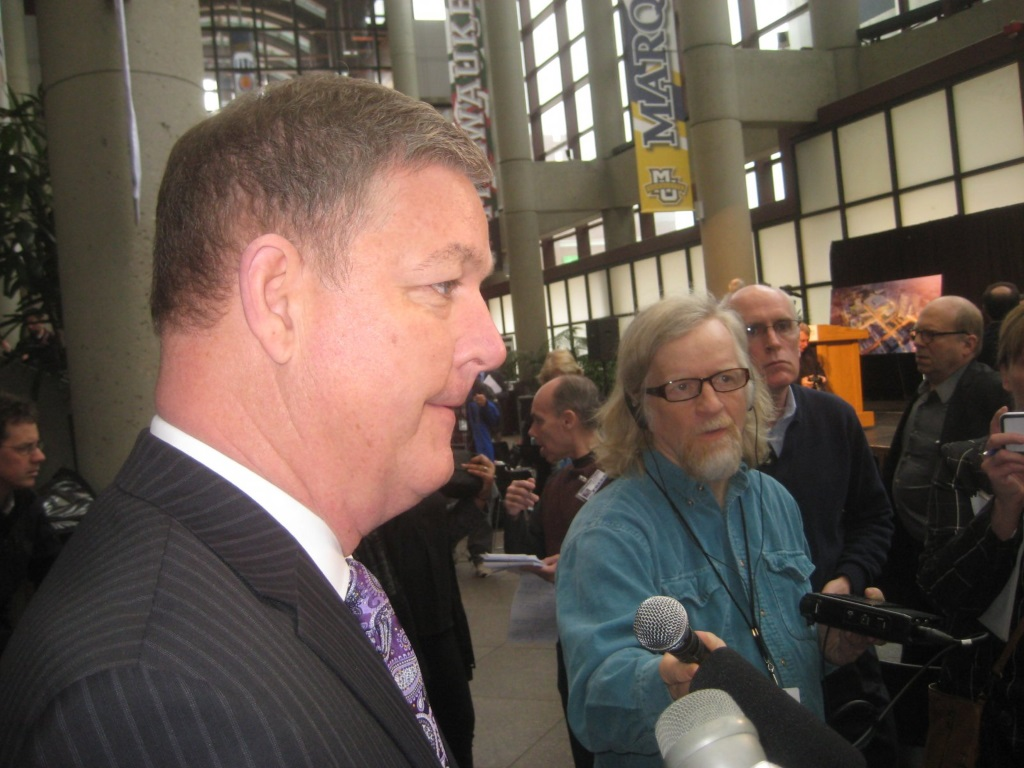 Tim Sheehy speaking to the media regarding the new Milwaukee Bucks arena. Photo by Michael Horne.