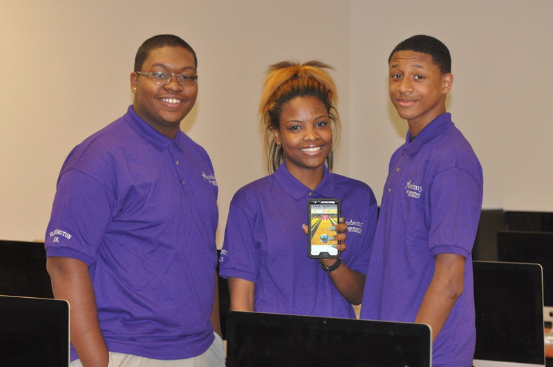 The winning students and their app. Photo courtesy of MPS.