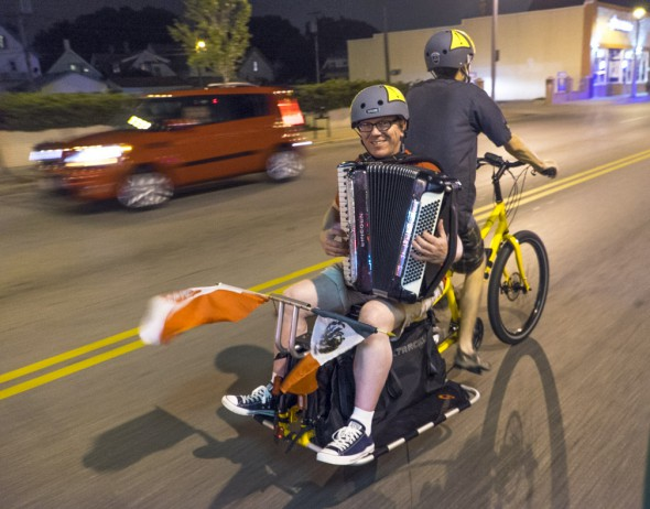 Oh yeah, the Xtracycle Edgerunner can haul accordion players too! Thanks Don Turner from bringing the Polka and Tristin Klein from Coast In Bikes for piloting the precious cargo. If you are an accordion player who wants to come on the next Polish Moon ride, contact me! You can never have too many accordion players, right? (Photo by Dave Schlawbowske)