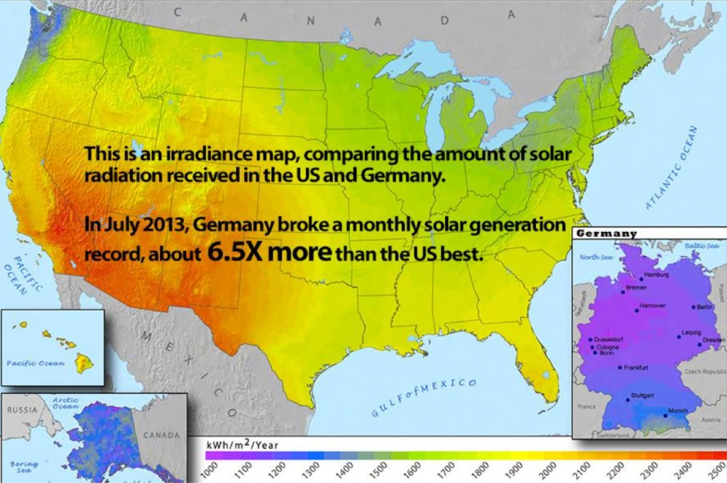 Irradiance Map from Grow Solar.