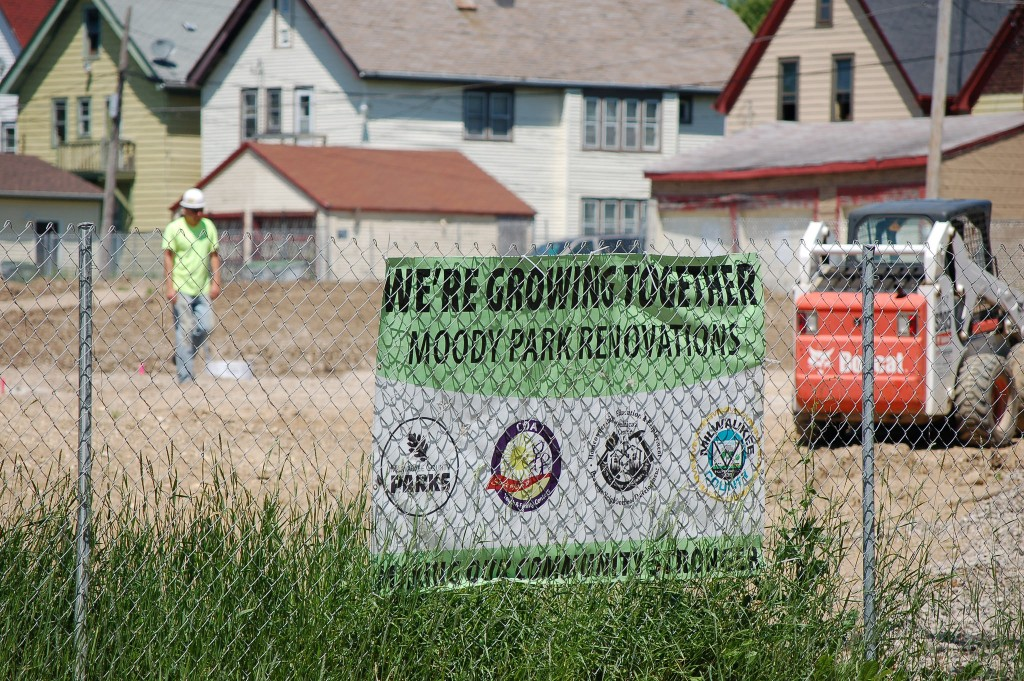 Construction is underway on Moody Park, 2200 W. Burleigh St., as the grand opening date of Aug. 20 nears. Photo by Edgar Mendez.