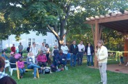 Pat Mueller thanks her neighbors for coming out to celebrate the pavilion. Photo by Devi Shastri.