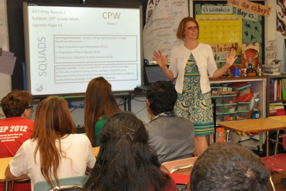 Moore in her classroom after receiving the Milken Educator Award in 2013. Photo from MPS.
