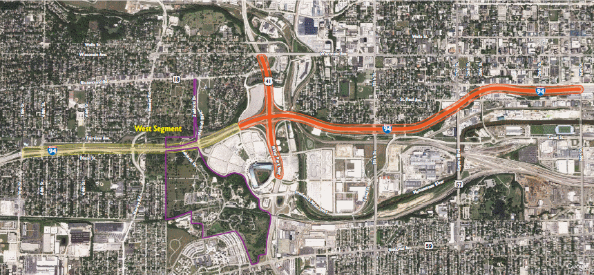 I-94 Expansion Area. Image from WisDOT.