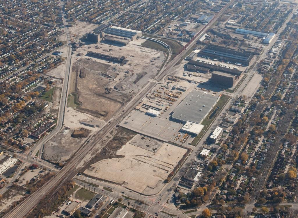 Aerial view of the 30th Street Corridor from 2014. Photo courtesy of the Redevelopment Authority City of Milwaukee.