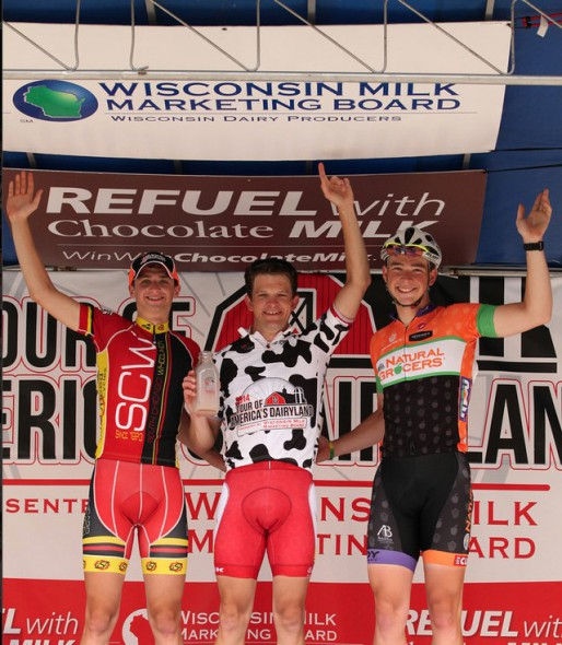 Al Krueger (middle) refuels with chocolate milk after winning the Beloit stage of the 2014 ToAD cycling series. Photo by Karl Hendrekse.
