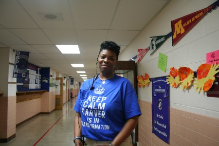 Janel Hawkins stands outside the office at Carver Academy, where she will be going into her fourth year as principal. Photo by Jabril Faraj.