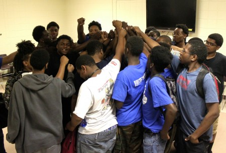 Participants in Youth Works Milwaukee support one another. Photo by Matthew Wisla.
