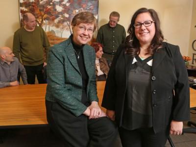 Dr. Marilyn Frenn and Mary Jo Wiemiller receive the  2015 Way Klingler Teaching Enhancement Award