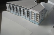 """Model of a planned 5-story, 72-unit """"Gateway to Bay View."""" Photo by Michael Horne."""