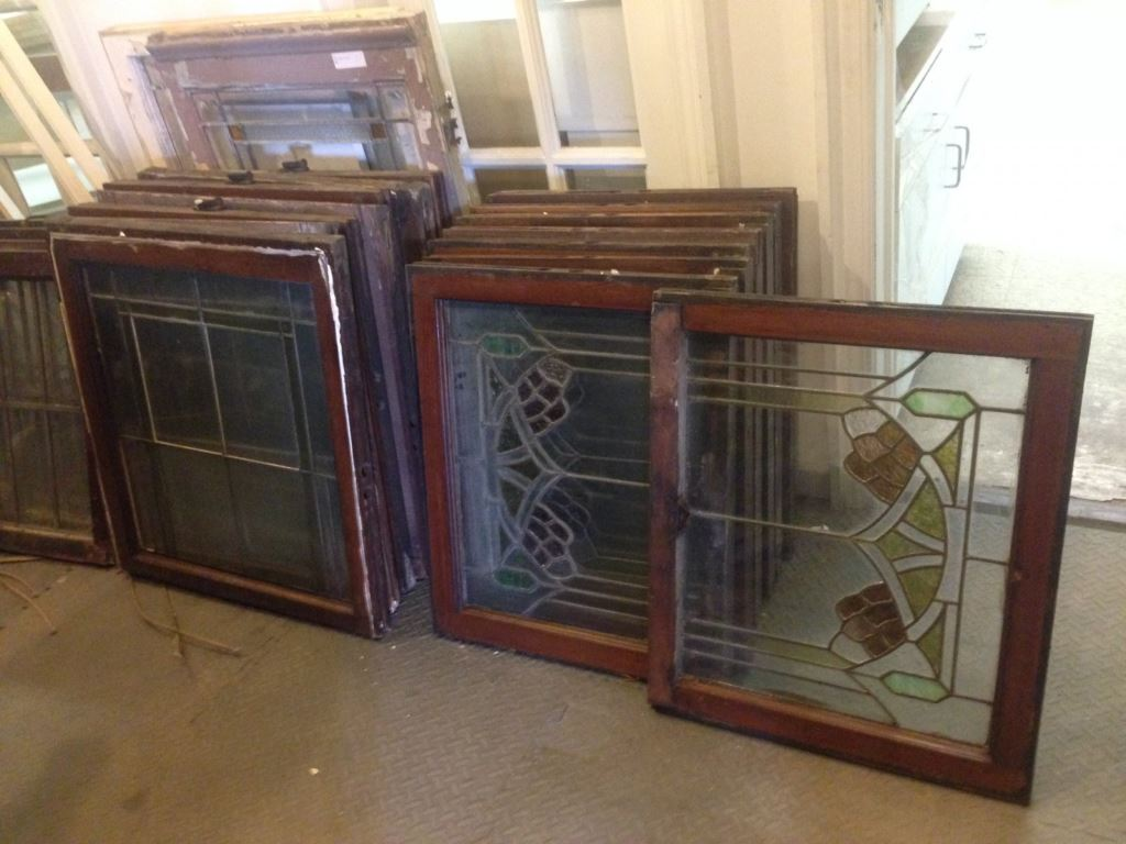 Stained glass windows salvaged by WasteCap Resource Solutions. Photo by Amanda Mickevicius.