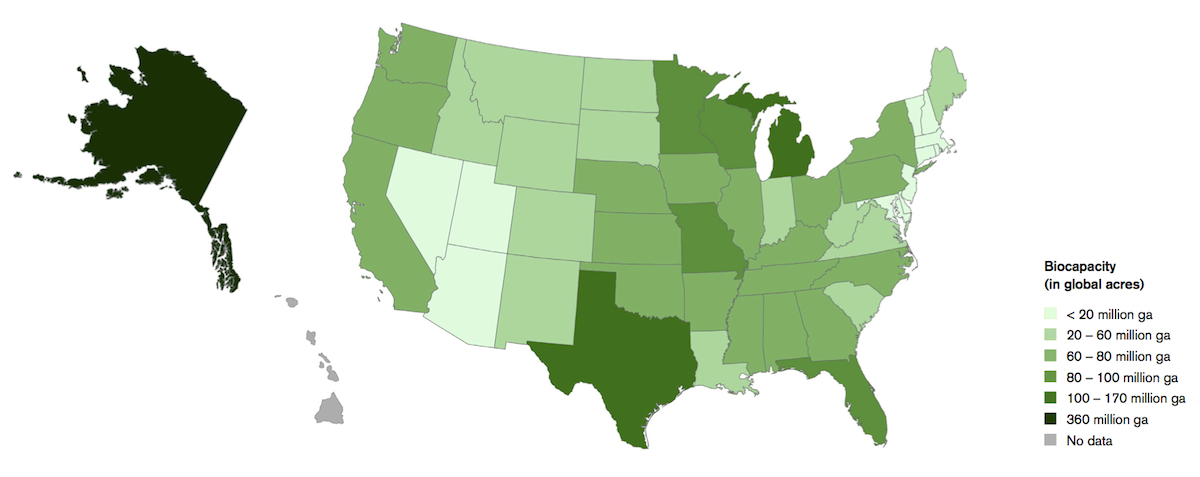 Biocapacity varies widely by state. Darker colored states have more bipcapacity. Image: Global Footprint Network