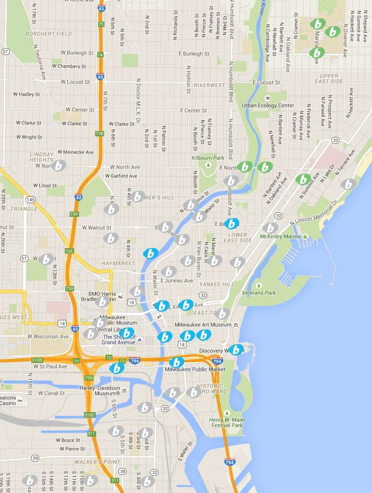 Existing stations in blue, new stations in gray, proposed UWM stations in green.