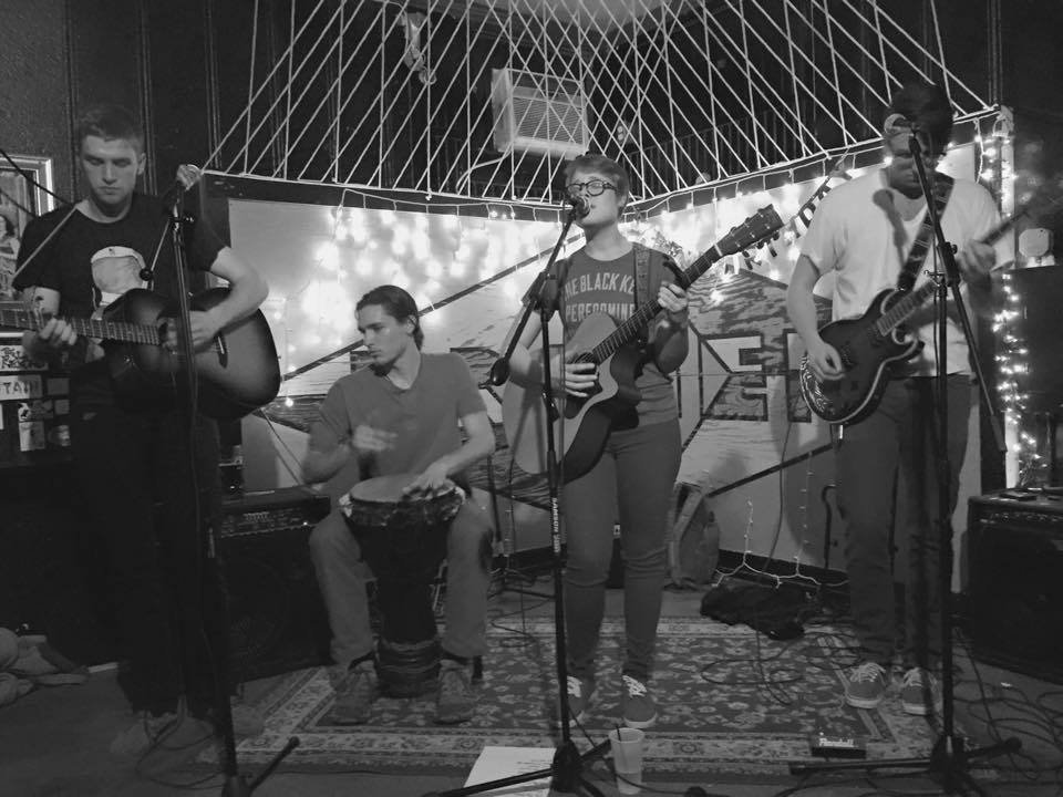 The Hubbard Hustle at Bremen Cafe in Riverwest. (from left to right) Zacke Lyons, Michael Fischer, Haley Butler and Connor Foley. Photo from the Hubbard Hustle.
