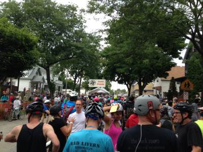Riders gather at the start / finish line of the Riverwest 24. Photo by Dave Reid.