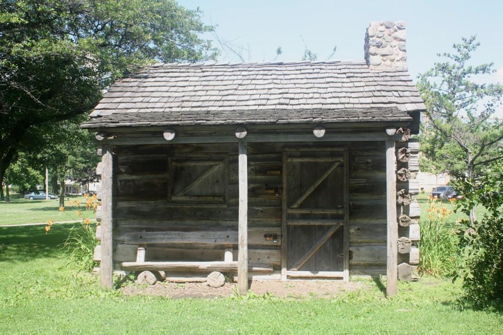 Replica of Juneau's cabin. Photo by Carl Baehr.