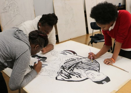 Students from Westside Academy II worked with artists to create large cutouts featuring Negro League stars. Photo courtesy of Brianna Dorney.