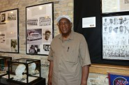 "Dennis Biddle, founder of Yesterday's Negro League Baseball Players LLC, will occasionally guide tours of the ""Civil Rights and Baseball,"" exhibit at Arts @ Large Gallery, 905 S. 5th St. Photo by Sue Vliet."