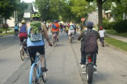 Residents of Riverwest and Harambee shared the streets and admired sites in both neighborhoods during the 53212 Unity Ride. Photo by Allison Dikanovic.